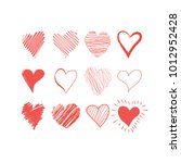 hand drawn hearts set. red... | Shutterstock .eps vector #1012952428