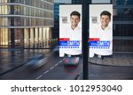 two political poster signs on... | Shutterstock . vector #1012953040