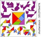 vector tangram puzzle cats... | Shutterstock .eps vector #1012956676
