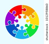 puzzle circle jigsaw game... | Shutterstock .eps vector #1012958860