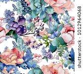 bouquet flower patterm in a... | Shutterstock . vector #1012964068