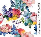 bouquet flower patterm in a...   Shutterstock . vector #1012964074