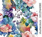 bouquet flower patterm in a...   Shutterstock . vector #1012964080
