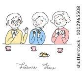 group of happy elderly women... | Shutterstock .eps vector #1012965508