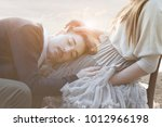 romantic scene of a couple... | Shutterstock . vector #1012966198