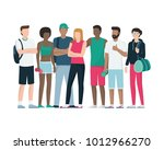 group of healthy sports people... | Shutterstock .eps vector #1012966270