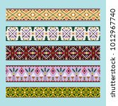 ethnic pattern colorful ribbons ... | Shutterstock .eps vector #1012967740