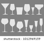 set of white wineglass and... | Shutterstock .eps vector #1012969159