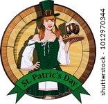 young attractive irish waitress ... | Shutterstock . vector #1012970344