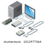 isometric computer parts... | Shutterstock .eps vector #1012977364