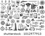 vintage monochrome marine icons ... | Shutterstock .eps vector #1012977913