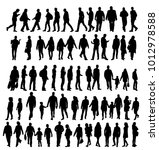 set of silhouettes people ... | Shutterstock .eps vector #1012978588