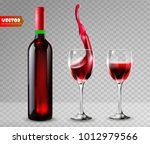 bottle of wine and wineglass.... | Shutterstock .eps vector #1012979566