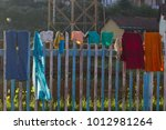 color linen hanging on the... | Shutterstock . vector #1012981264