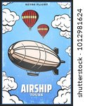 vintage colored airship poster... | Shutterstock .eps vector #1012981624