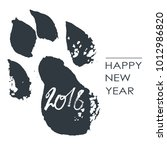 black hand drawn isolated dog... | Shutterstock .eps vector #1012986820