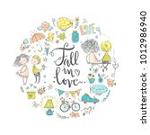 cute fall in love round... | Shutterstock .eps vector #1012986940