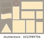 postage stamps template flat... | Shutterstock .eps vector #1012989706