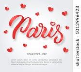 paris   romantic banner with...   Shutterstock .eps vector #1012996423