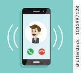 incoming call. smartphone with... | Shutterstock .eps vector #1012997128