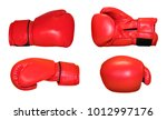 Red boxing gloves in different...