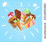 collection of ice cream sweet...   Shutterstock .eps vector #1013003383