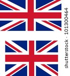 Flag of the UK with official proportions (2:1) and standard international proportions (3:2) useful as language icon on websites - isolated illustration - stock photo