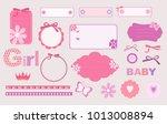 scrapbook baby girl set. baby... | Shutterstock .eps vector #1013008894