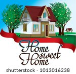 a house in the village  a house ... | Shutterstock .eps vector #1013016238