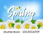 inscription spring against a...   Shutterstock .eps vector #1013016559