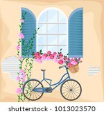 vintage window with flowers.... | Shutterstock .eps vector #1013023570