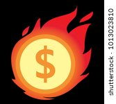 money icon with fire vector | Shutterstock .eps vector #1013023810