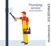 professional plumber with an...   Shutterstock .eps vector #1013024863