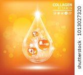 orange collagen vitamin droplet ... | Shutterstock .eps vector #1013027320