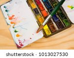well used artists watercolour... | Shutterstock . vector #1013027530