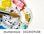 artists flower shaped style... | Shutterstock . vector #1013029108