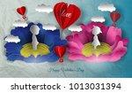 balloon flying paper sky.... | Shutterstock .eps vector #1013031394