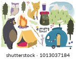 it's camping time  hand drawn... | Shutterstock .eps vector #1013037184