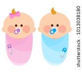 newborn baby girl and boy... | Shutterstock .eps vector #1013038180