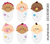 diverse group of newborn babies ... | Shutterstock .eps vector #1013038183