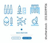 Vaccination Thin Line Icons Se...