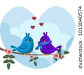 cute blue and purple birds... | Shutterstock .eps vector #1013040574