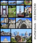 Small photo of San Francisco collage - photo collection with Alamo Square, Nob Hill, Telegraph Hill, Grace Cathedral and Golden Gate Bridge.