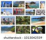 brazil travel collage with sao... | Shutterstock . vector #1013042539