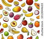 seamless pattern fruits. mango  ... | Shutterstock .eps vector #1013044633