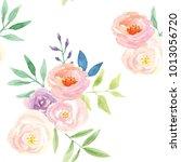 watercolor flowers seamless... | Shutterstock . vector #1013056720