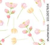 watercolor flowers seamless... | Shutterstock . vector #1013057854