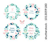 beautiful floral  frame ... | Shutterstock .eps vector #1013059180