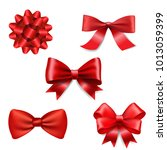 red ribbon bow set | Shutterstock .eps vector #1013059399
