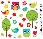 Vector Set   Owls  Birds ...